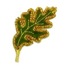 IRON ON PATCH APPLIQUE - GREEN BEADED LEAF