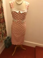 collectif 14 Pink And White Polka Dot Wiggle Dress 1950s Vintage Style