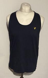 Lyle Scott Men's T Shirt Blue Large 100% Cotton Sleeveless