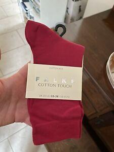 BNWT Falke Women's Cerise Cotton Touch Ankle Socks Shoe Size 2.5 - 5 / 35-38