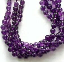 2 Strands of Genuine Smooth Round Amethyst Beads - 7mm - Rich Amethyst Color