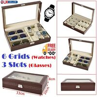 Brown PU Leather 6 Grids Watch 3 Slots Sunglasses Storage Box Glass Display Case