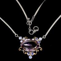Handmade Oval Ametrine Bi-Color 16.86ct Tanzanite 925 Sterling Silver Necklace