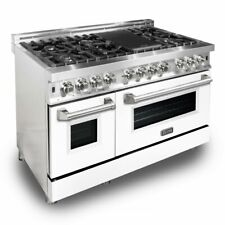 "Zline 48"" Dual Fuel Stainless Range Oven Gas Electric White Matte Door Ra-Wm-48"