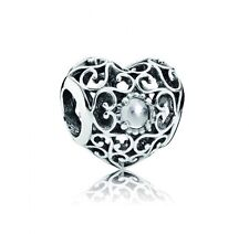 NEW! Authentic Pandora April Signature Heart Rock Crystal Charm #791784RC $55