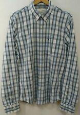 ABERCROMBIE FITCH Mens Muscle Dress Shirt Size 2XL Blue Plaid Cotton Button Down