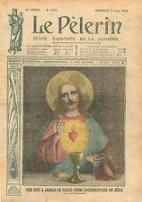 Portrait du Christ Sacré-Coeur Eucharistique de Jesus Pain Vin 1910 ILLUSTRATION