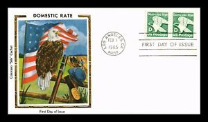 DR JIM STAMPS US COVER DOMESTIC MAIL D RATE FDC EAGLE FLAG COLORANO SILK CACHET