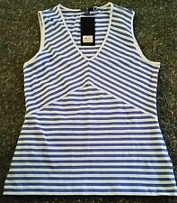 NWT MSRP $39 Jones New York Womens Tank Striped Blue White Soft Shirt Small