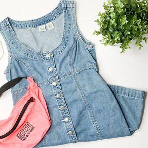 Vintage GAP Women's Denim Button Up Jumper Sleeveless Mini Dress 90's Y2K Sz 4