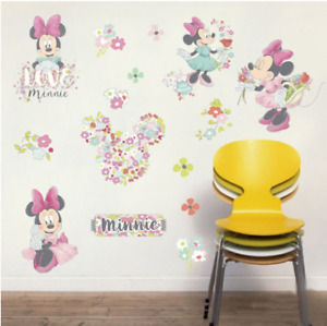 Minnie Decal WALL STICKER Mouse Vinyl Mural Kids Room Wall Decoration UK