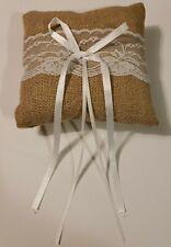 Rustic Wedding Lace Burlap Jute Ring Bearer Pillow 6x6 inch