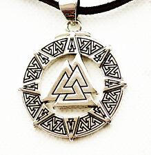 Viking Valknut Odin's Symbol of Norse Pendant Necklace Choker Leather-ADJUSTABLE