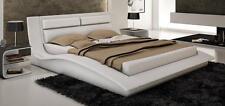 WAVE - KING SIZE MODERN DESIGN WHITE LEATHER PLATFORM BED