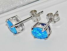 STERLING SILVER (925) BLUE OPAL OVAL CABOCHON LADIES STUD EARRINGS