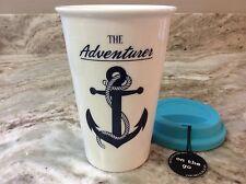Travel Mug The Adventurer With Anchor. White, Blue. Durable Porcelain. New.