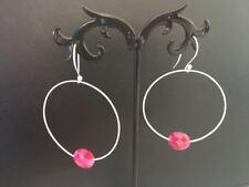 Genuine 925 Sterling Silver Hoop Earrings Natural Stone Gemstone Ruby Faceted