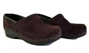 DANSKO Professional Suede Clog Womens Size 39 M Red Maroon Leather Slipon EUC