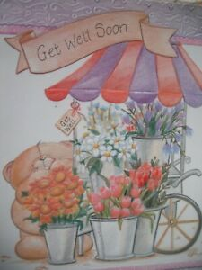 GET WELL Soon With Best Wishes (Bear & Flowers) Large Forever Friends Card
