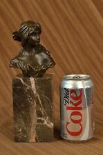 Female Bust Bronze Sculpture Bookend Book Handcrafted Signed Original Deco Art