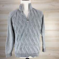 EUC $138 Men's TOMMY BAHAMA 1/4 Zip OCEAN CREST Sweater GRAY LARGE L