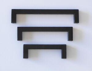 KITCHEN CABINET DRAWER PULL CUPBOARD HOLLOW SQUARE HANDLES - MATT BLACK