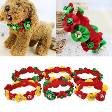 Xmas Pet Dog Cat Flower With Bells Elastic Necklace Collar Grooming Accessories