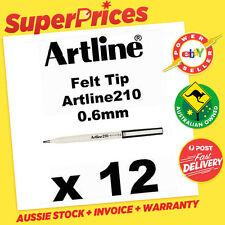 ARTLINE 210 x 12 BLACK 0.6mm FINE FINELINER MARKER PEN FELT TIP EK-210 ART DRAW