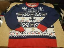 Vintage Molson Canadian Beer Christmas Sweater Throwback 80's Rare M Medium