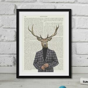 Dapper Deer Hipster Animal Print On REAL Vintage Dictionary Page Stag Retro Art