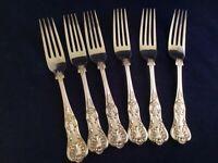 "Antique1890's Kings Pattern WALKER & HALL Silver Plated 8 3/8"" Dinner Forks"