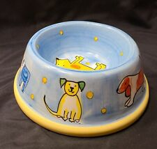 Spot Large Dog Food Water Dish Bowl Blue w/ Various Dogs Print Ceramic, VG+