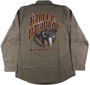 Harley Davidson Eagle Logo Shirt Mens Long Sleeve Button Front Woven Brown Tall
