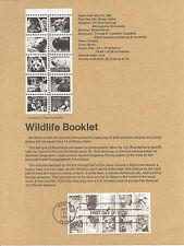 18c ANIMALS/WILDLIFE 1981 SOUVENIR PAGE SCOTT # 1880-1889 SP532 FDC