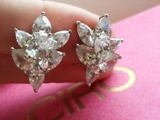 """Ciro"" Marquise & Pear Cut Zircon Cluster Sterling Silver Clip Earrings"