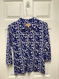Sport Haley Women's Golf Shirt M White And Blue Print 3/4 Sleeve 1/4 Zipper