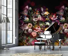 14,28 €/qm / Fototapete Floral Blumen Schwarz Vliestapete INK 7319/ 200x280cm