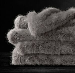 RH Ultra Faux Fur Throw FOG New W/Tag 60x80