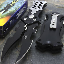"8.5"" Mtech USA Midnight Black Dual Blade Fantasy Pocket Folding Knife"