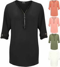 Polyester Patternless 3/4 Sleeve T-Shirts for Women