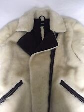 Asos Cream/Off White Faux Shearling Faux Fur Biker Coat With Zip Details UK 8