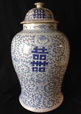 Large antique blue & white Chinese Tongzhi ginger jar with lid signed 1862-1875