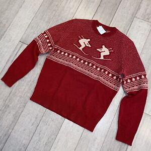 New J.CREW Sweater Mens MEDIUM Lambs Wool Skier Graphic Apres Ski Crew Neck NWT