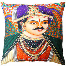 "Large 24"" Pillow Cushion Cover Emperor Digital Print Sofa Throw Indian Decor"