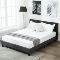Queen Size  Upholstered Bed Frame Linen Headboard Platform with Wood Slats Gray