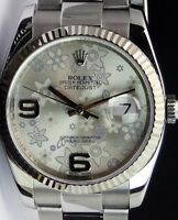 ROLEX Mens DateJust 18kt White Gold & Stainless Silver Floral 116234 SANT BLANC