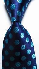 New Classic Blue Polka Dot Dark Blue JACQUARD WOVEN 100% Silk Men's Tie Necktie