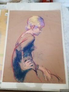 Arthur Okamura Listed artist Signed dated 1966 Portrait Pastel on Paper