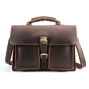"""Men's Real Leather Briefcase 16"""" Laptop Handbag Shoulder Bag Travel Bag Satchel"""