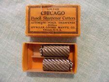 VINTAGE PAIR CHICAGO PENCIL SHARPENER CUTTERS IN BOX SPENGLER - LOOMIS